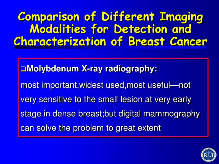 Comparison of Different Imaging Modalities for Detection and Characterization of Breast Cancer