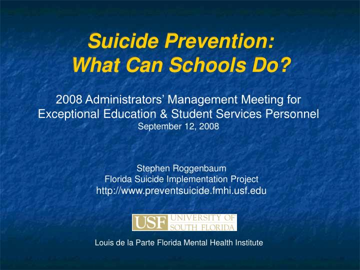 Suicide prevention what can schools do