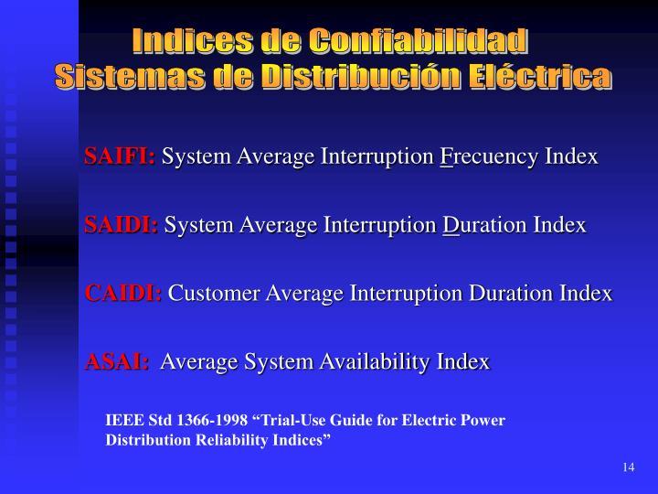 Indices de Confiabilidad