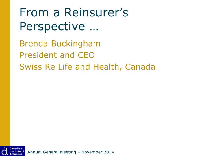 From a Reinsurer's Perspective …