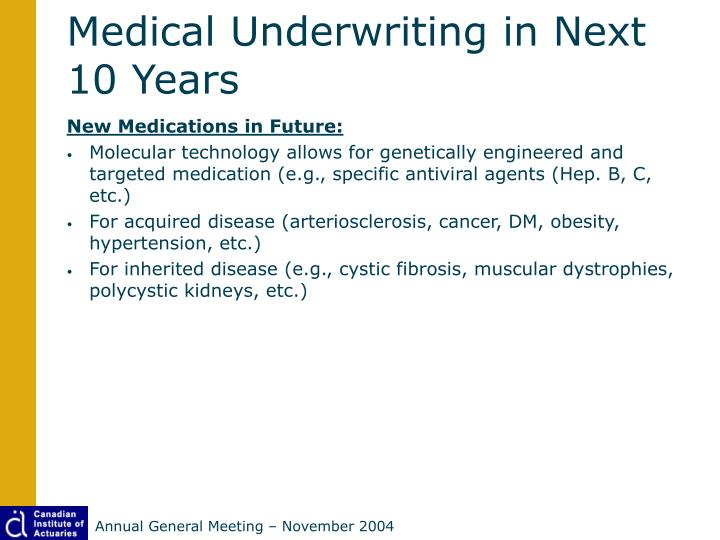 Medical Underwriting in Next 10 Years
