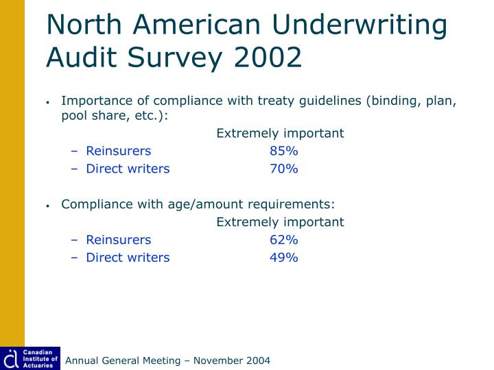 North American Underwriting Audit Survey 2002