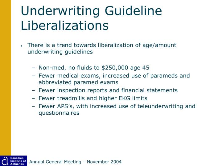 Underwriting Guideline Liberalizations