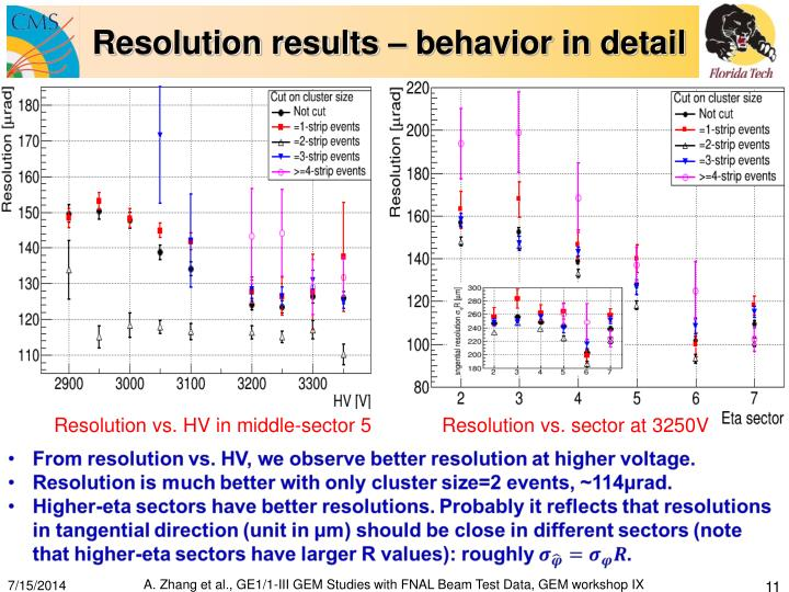 Resolution results – behavior in detail