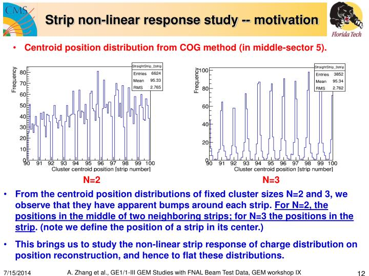 Strip non-linear response study