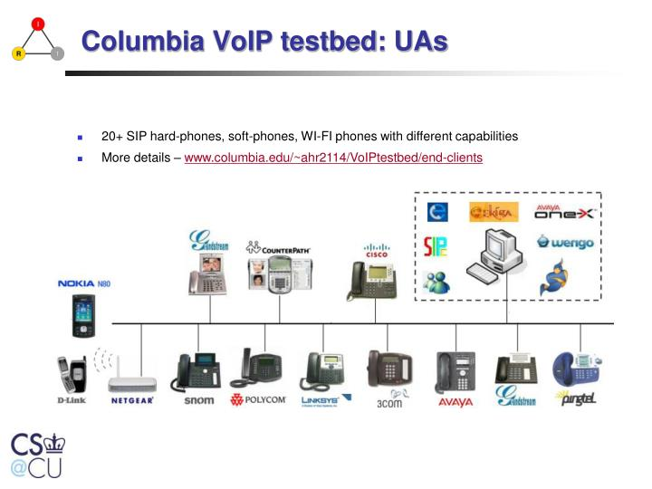 Columbia VoIP testbed: UAs
