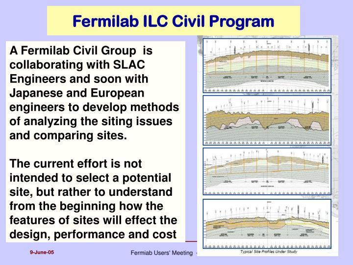 Fermilab ILC Civil Program