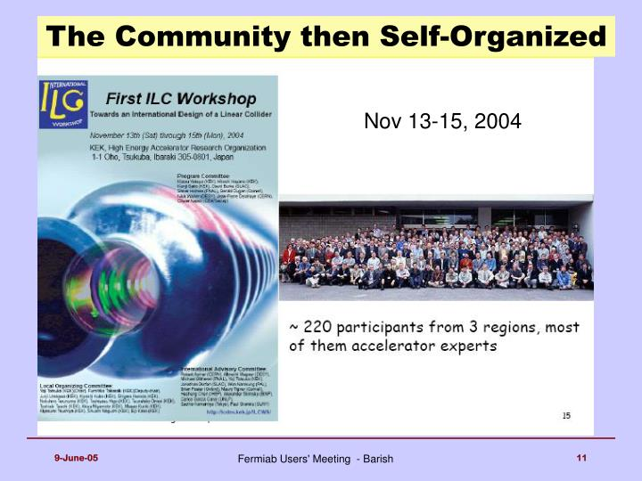 The Community then Self-Organized