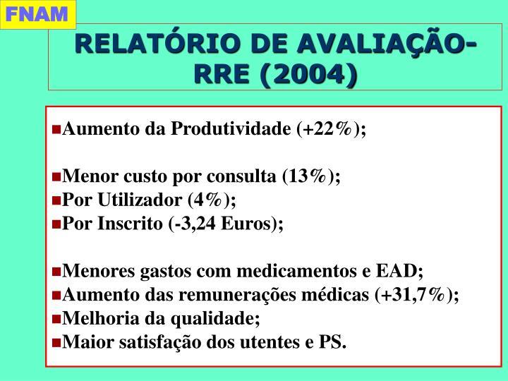 RELATÓRIO DE AVALIAÇÃO-RRE (2004)