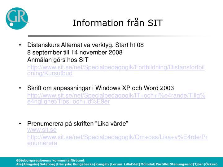 Information från SIT