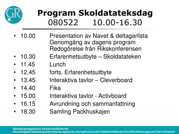 Program Skoldatateksdag