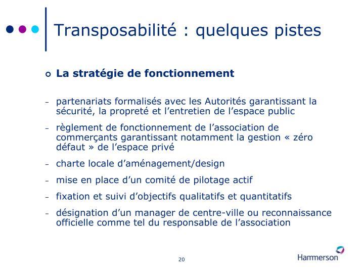 Transposabilité : quelques pistes