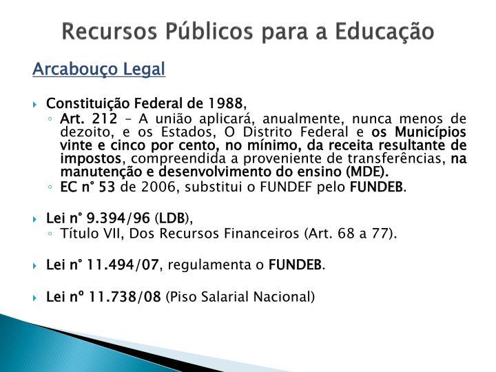 Recursos Públicos para a Educação