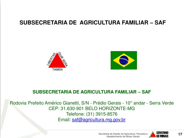 SUBSECRETARIA DE  AGRICULTURA FAMILIAR – SAF