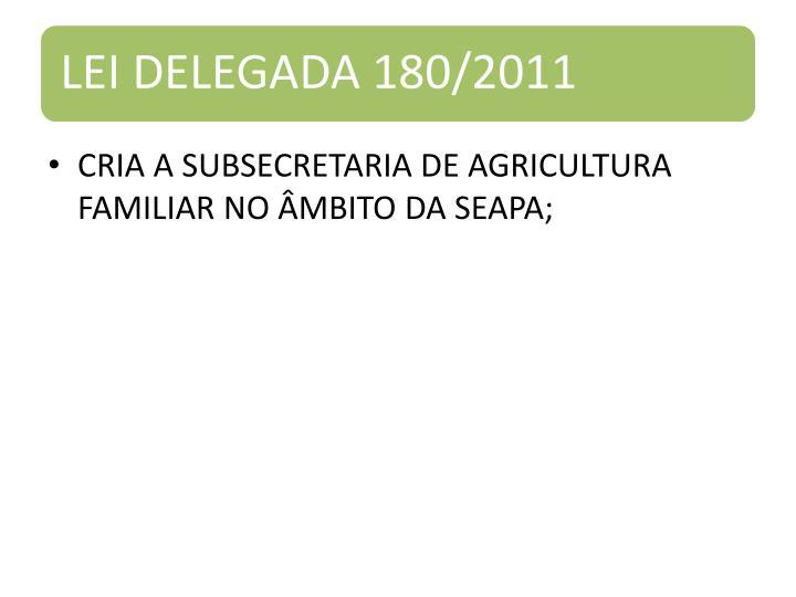 CRIA A SUBSECRETARIA DE AGRICULTURA FAMILIAR NO ÂMBITO DA SEAPA;