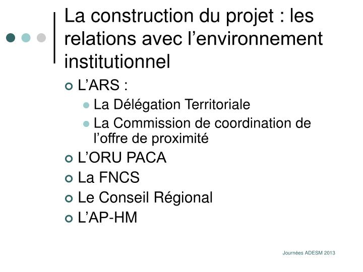 La construction du projet : les relations avec l'environnement institutionnel