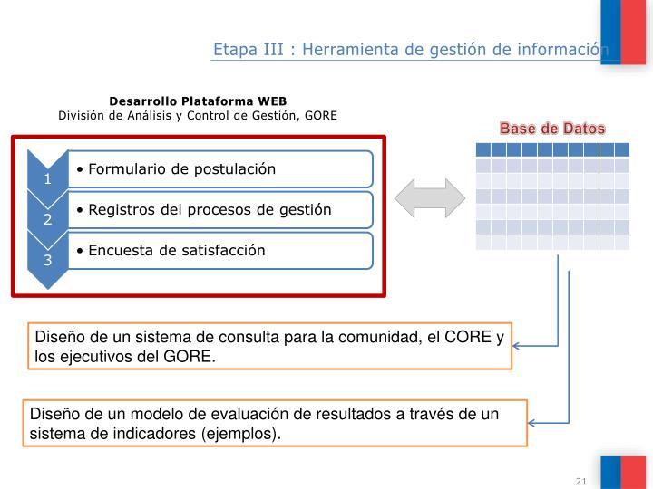 Etapa III : Herramienta de gestión de información