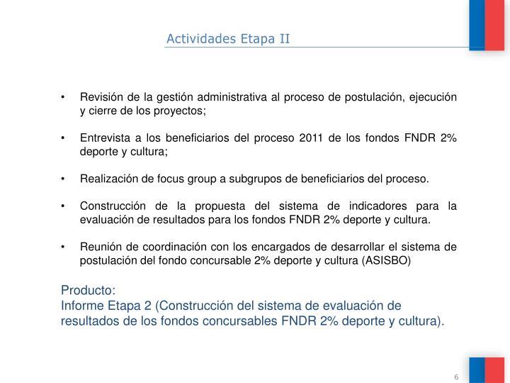 Actividades Etapa II