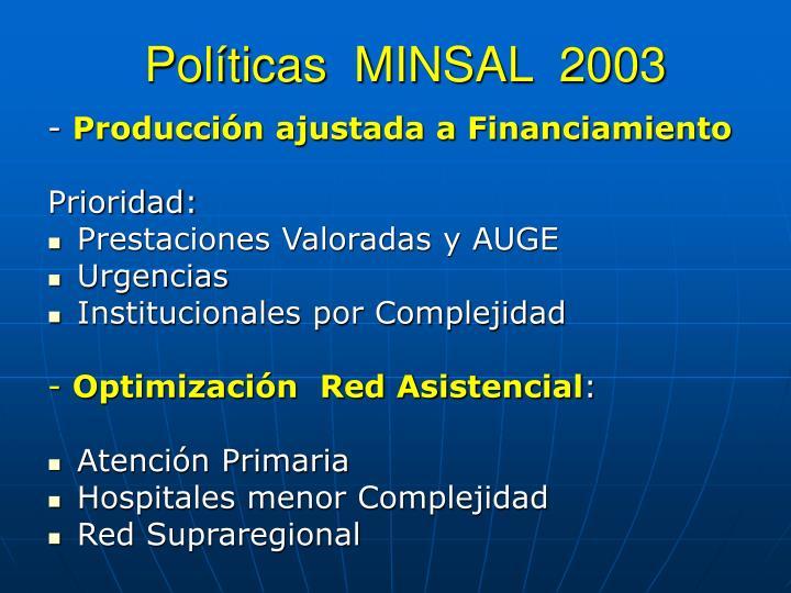 Políticas  MINSAL  2003