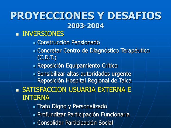 PROYECCIONES Y DESAFIOS