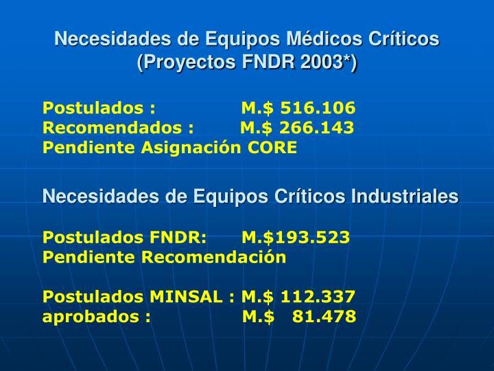 Necesidades de Equipos Médicos Críticos
