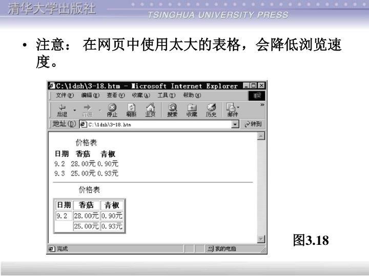 注意: 在网页中使用太大的表格,会降低浏览速度。