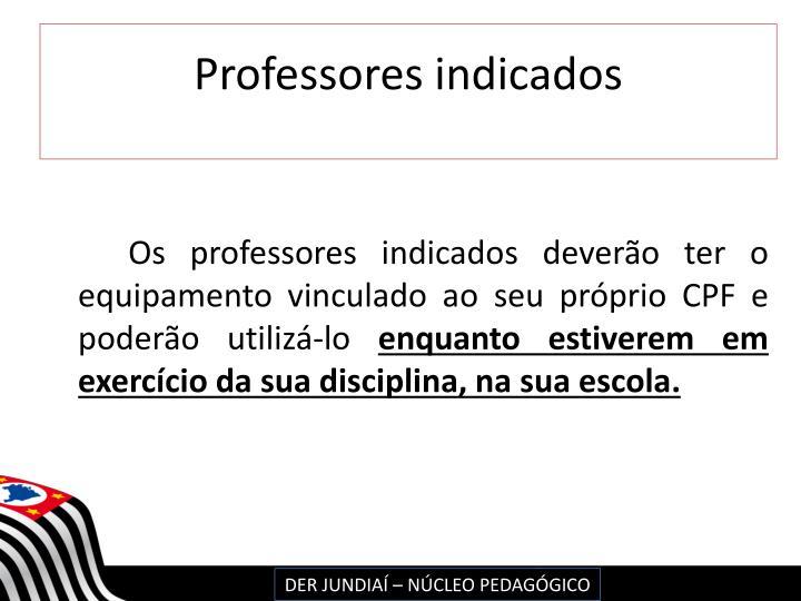 Professores indicados