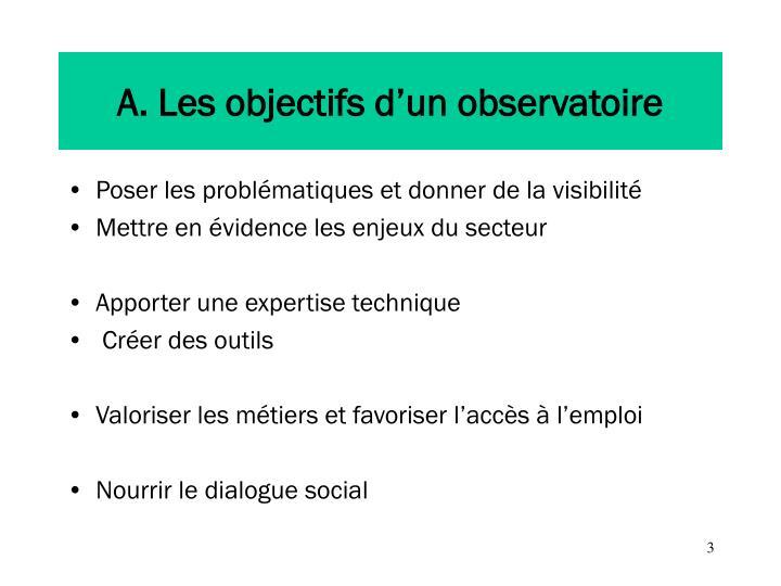 A. Les objectifs d'un observatoire
