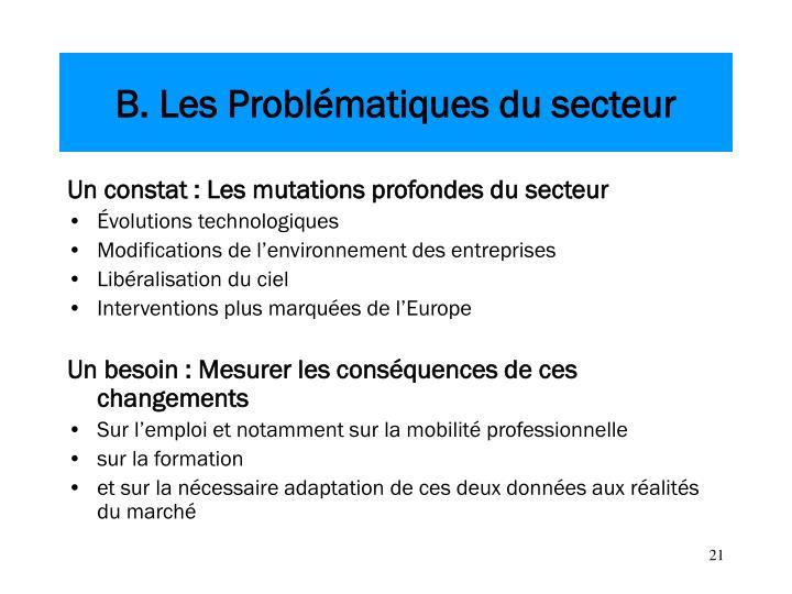 B. Les Problématiques du secteur