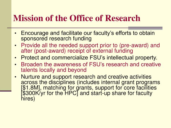 Mission of the Office of Research