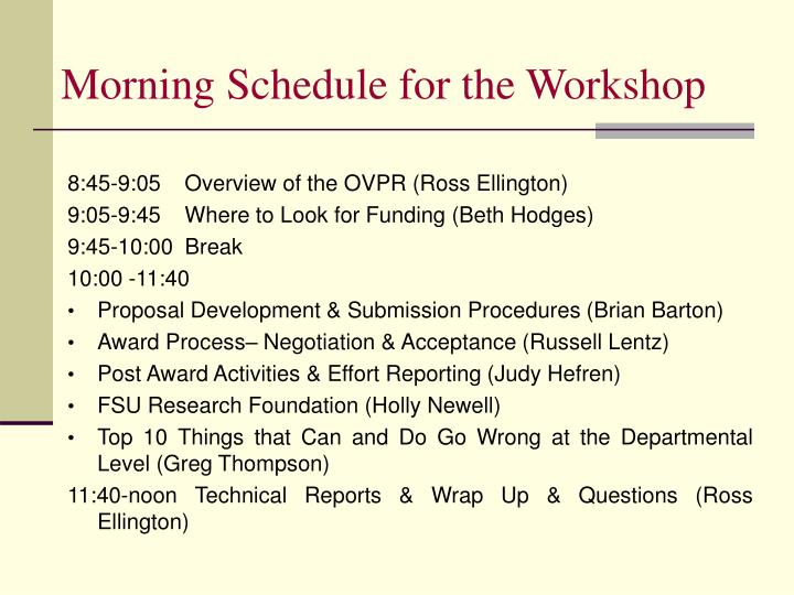 Morning Schedule for the Workshop