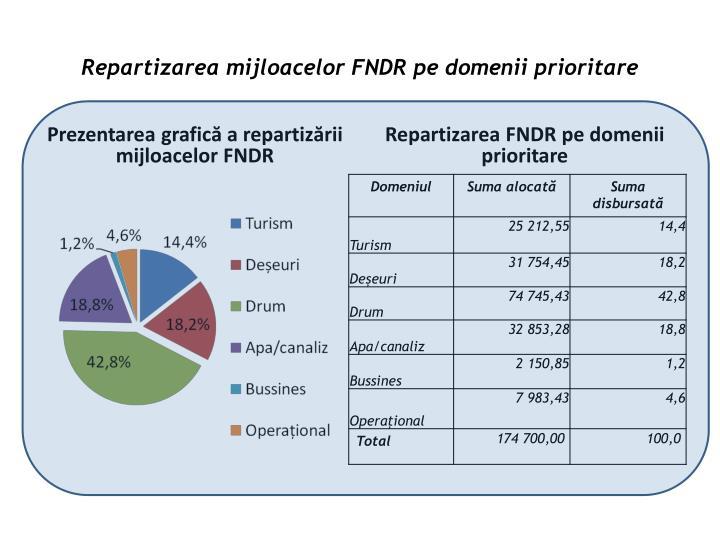 Repartizarea mijloacelor FNDR pe domenii prioritare