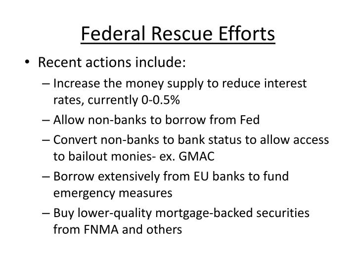 Federal Rescue Efforts