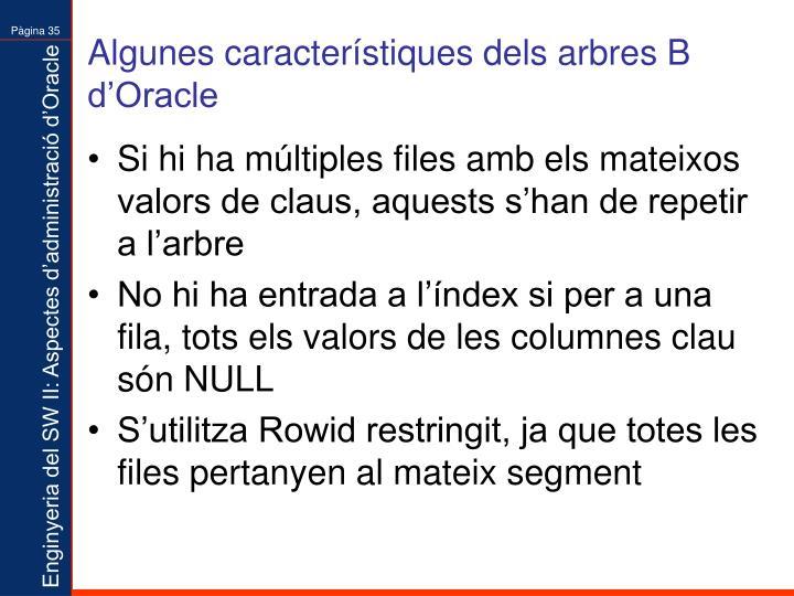 Algunes característiques dels arbres B d'Oracle