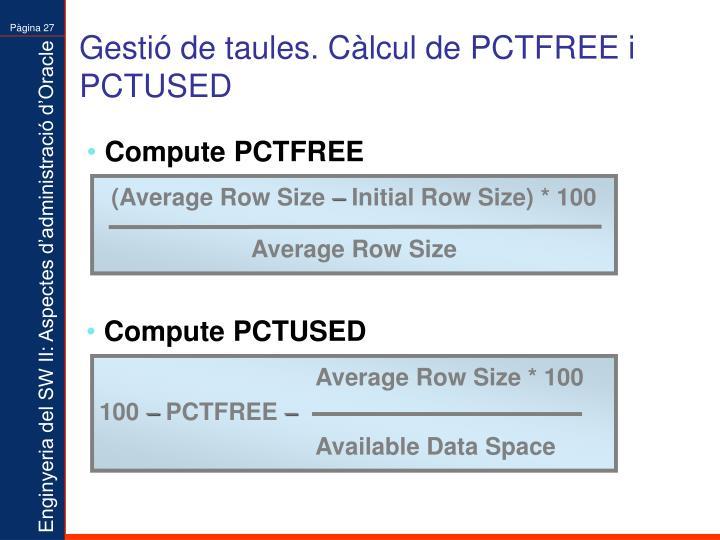 Gestió de taules. Càlcul de PCTFREE i PCTUSED