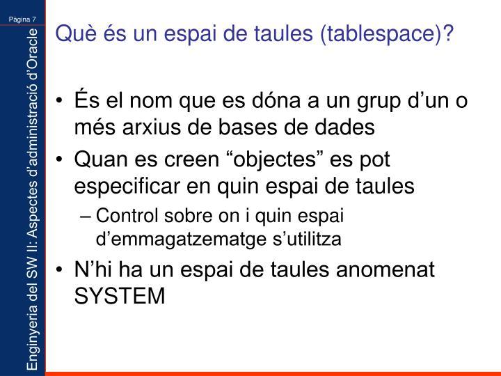 Què és un espai de taules (tablespace)?