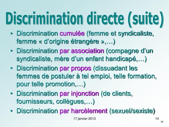 Discrimination directe (suite)
