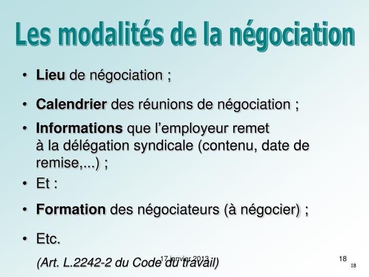 Les modalités de la négociation