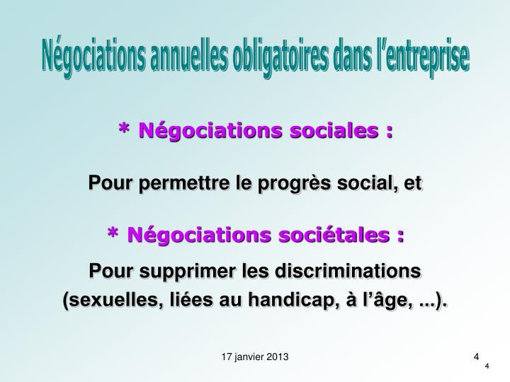 Négociations annuelles obligatoires dans l'entreprise