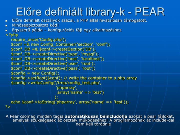 Előre definiált library-k - PEAR