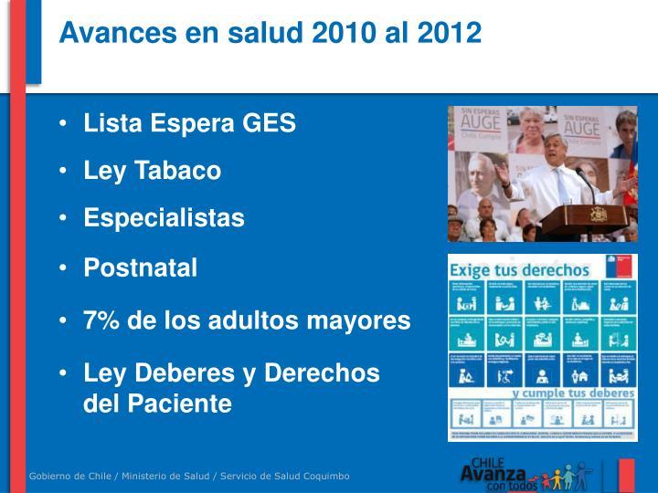 Avances en salud 2010 al 2012