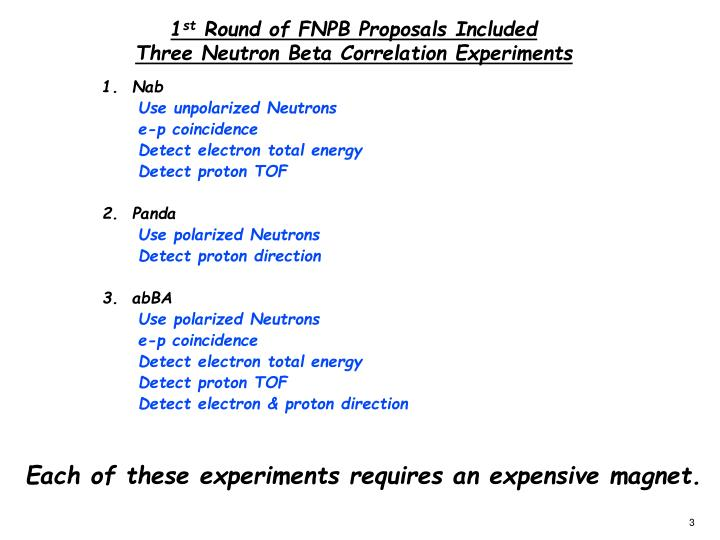 1 st round of fnpb proposals included three neutron beta correlation experiments