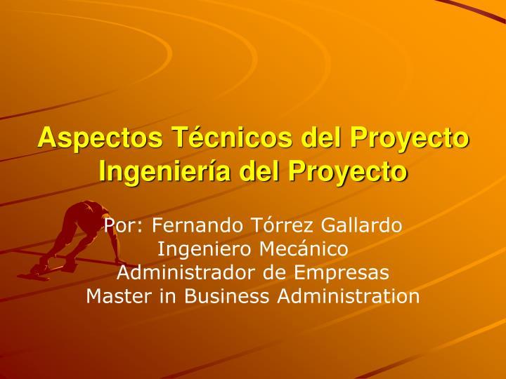 Aspectos Técnicos del Proyecto Ingeniería del Proyecto