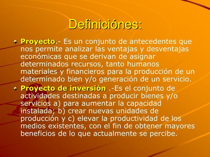 Definiciónes: