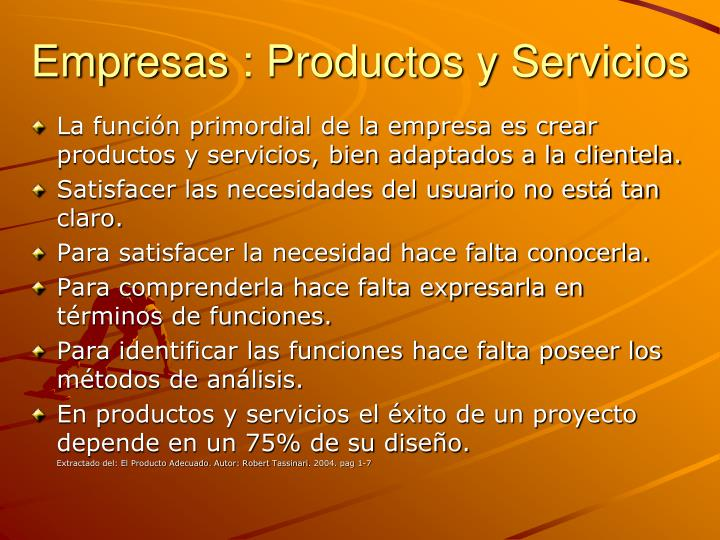 Empresas : Productos y Servicios