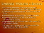 empresas productos y servicios