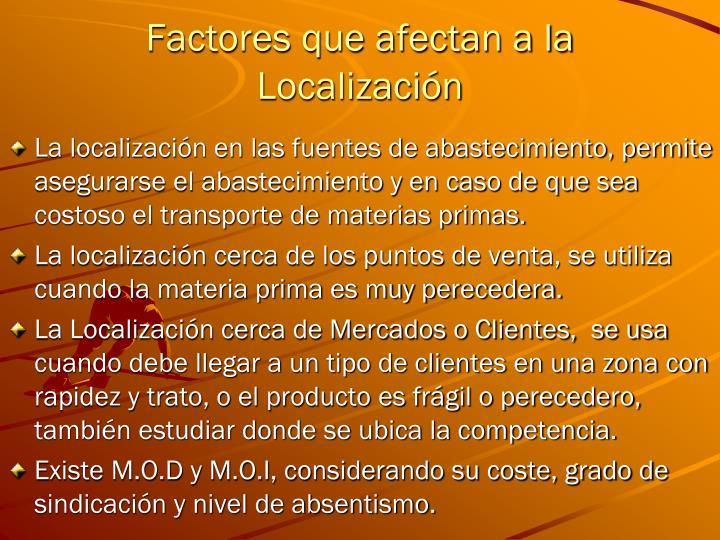 Factores que afectan a la Localización