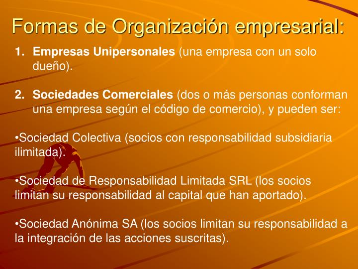 Formas de Organización empresarial: