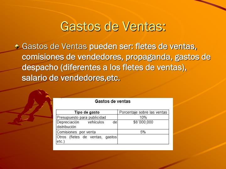 Gastos de Ventas: