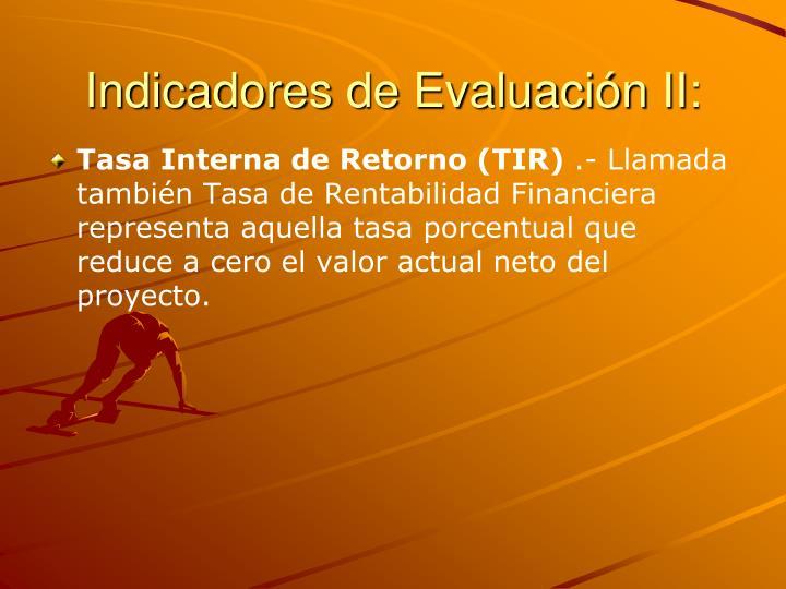 Indicadores de Evaluación II: